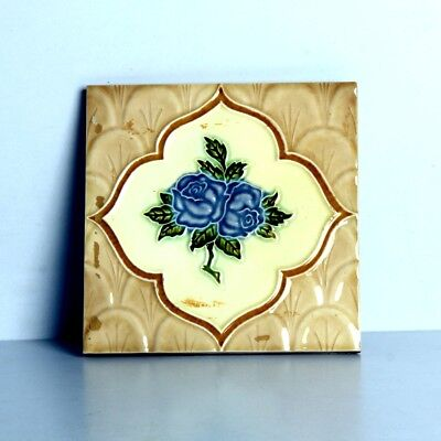 Vintage Majolica Decorative Flower Art Nouveau Architecture Tiles,Japan 10848