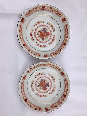 Vintage 1950s Chinese Porcelain Plate Pair of Hand Painted Pottery Dishes