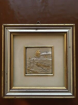 Vintage Embossed Sterling Silver  Painting Hand Made in Italy Gold Plated