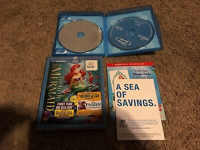 The Little Mermaid (Blu-ray/DVD, 2013, 2-Disc Set, Diamond Edition) W/SLIPCOVER