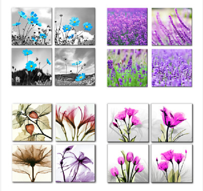 Canvas Wall Art for Home Living Room Decor Flowers Canvas Picture 4 Panels