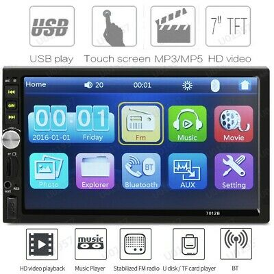 7'' DOUBLE 2DIN Car MP5 Player BT Tou+ch Screen Stereo Radio HD+Camera B1D9 USA
