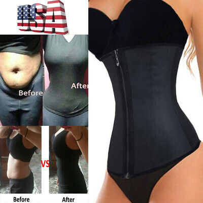 Fajas Colombianas Zip Latex Waist Trainer Weight Loss Cincher Slim Body Shaper