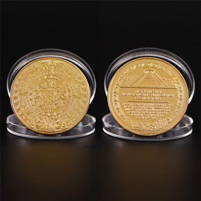 Maya Bitcoin Commemorative Bit Coin Art Collection Physical Plated Coin Gift KW