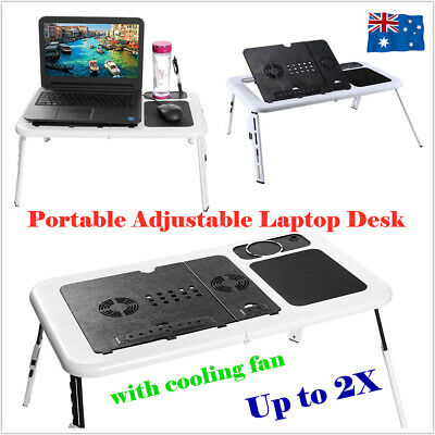 Portable Folding Laptop PC Desk Bed Sofa Tray Notebooks Table Stand Cooling Fan
