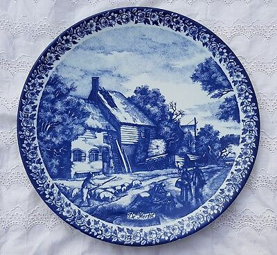 """11.8"""" Vintage 'Herfst' Dutch Plate Wall Charger Delft Blue &White Delfts Blauw"""