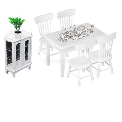 MagiDeal 1:12 Dollhouse Kitchen Table Chair Set, Cabinet & Tableware Accs