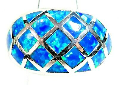 "Silver 925 SF Size 11 Ring Blue Lab Fire Opal  CRISSCROSS 1/2"" Wide"