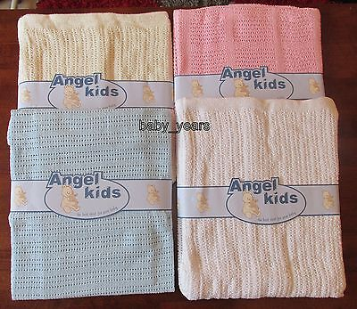 Baby Cotton Cellular Pram Blanket Wrap Swaddle White Cream Pink Blue 75X100 Cms