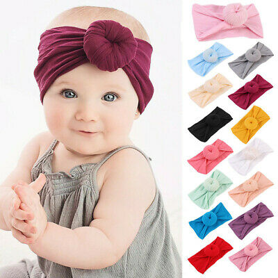 Soft Baby Girls Kids Toddler Bow Hairband Headband Turban Big Knot Head-Wrap New