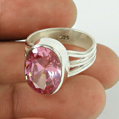 Pink Cubic Zirconia Stone Ring 925 Sterling Silver Gorgeous Jewellery UK Size P