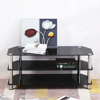 "3-Tier Glass Corner TV Stand Black Television Media For Screen 25"" - 55"" UK"