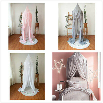 UK Kids Baby Bed Canopy Bedcover Mosquito Net Curtain Bedding Dome Tent Cotton l