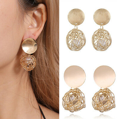 Fashion Charm Women's Gold Plated Round Pearl Dangle Drop Earrings Stud Jewelry