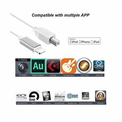 2.0 Cable For iPhone iPad X iPad Lightning to Type-B MIDI Keyboard Converter AR