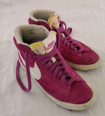 new product 2fc95 3552a NIKE Women s UK 5 38.5 Blazer Mid Suede Vintage Cerise Pink High Top Boots  WORN