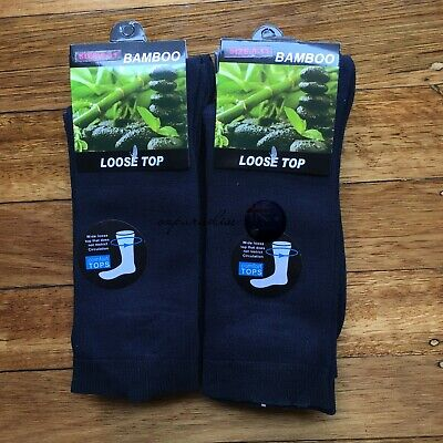 6 Pairs SIZE 11-14 95% Loose Top BAMBOO SOCKS Medical Diabetic Comfort Navy