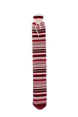 Warmies Extra Long Hot Water Bottle Red Stripes Knit Cover 80cm PVC Quick & Easy