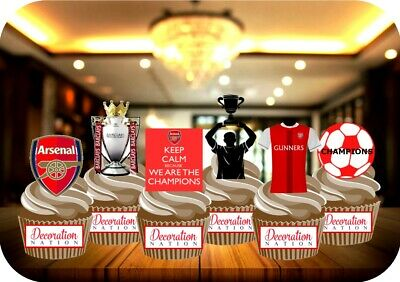 ARSENAL GUNNERS Champions Party Pack 12 STAND UP Edible Cake Topper Football