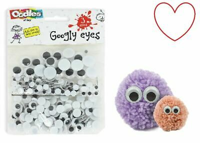 308pcs 7 Sizes Googly Wiggly Wobbly Eyes SELF ADHESIVE Crafts 5mm to 20mm
