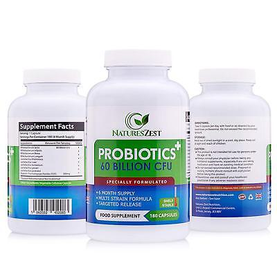 Natures Zest 60 Billion CFU Probiotics with Prebiotics 180 Capsules Highest Stre