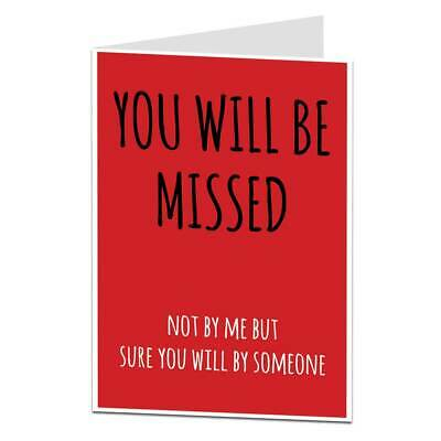 Funny Rude Leaving Work The Office Card Good Luck In Your New Job Men Women