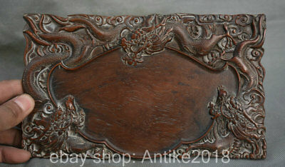 "8.8"" Old China Huanghuali Wood Hand Carved Dynasty Dragon Loong inkstone inkslab"
