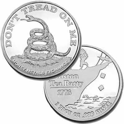 SALE!!   Lot of 5  1 oz. Boston Tea Party Don't Tread on Me .999 Silver rounds