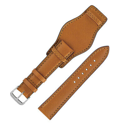 Rios1931 TULA Genuine Russia Leather Bund-Style Watch Strap in HONEY