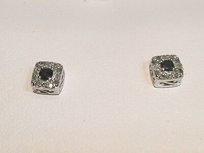 1/4 Ct.Black & White Diamond Square Halo Stud Earrings,.925 Sterling Silver