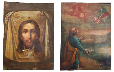 Antique 19th C Russian, Double-Sided, Hand Painted Icon on Canvas