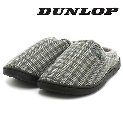 Dunlop Mens Slippers Slip On Mules Fur Lined Warm Fleece Grey Check Sizes 7-12