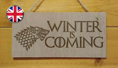 WINTER IS COMING. Game of Thrones themed.Engraved Plaque sign.GOT TV show love
