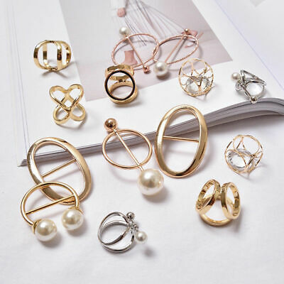 Women's Fashion Scarf Buckle Ring Clip Holder Silk Scarves Jewelry Brooch Gift