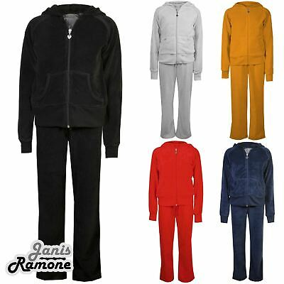 Girls Kids Velvet Velour Hooded Zip Loungewear Top Bottom Suit Jogging Tracksuit
