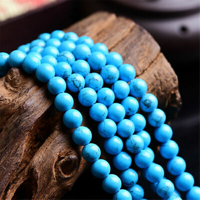 4/6/8/10/12mm Charm Turquoise Spacer Natural Gemstone Blue Beads Round Loose DIY
