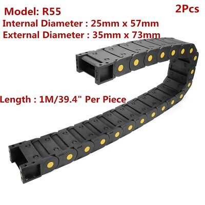 uxcell R55 25mm x 50mm Black Plastic Open Type Cable Wire Carrier Drag Chain 1M Length for CNC