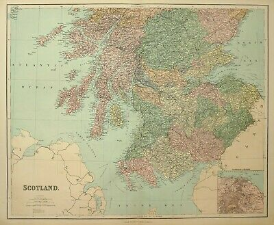1902 Large Antique Map Scotland Ayr Dumfries Mull Argyl L Perth Forfar Fife
