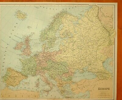 1902 Large Antique Map Europe Spain France Austria Hungary Sweden Norway Italy