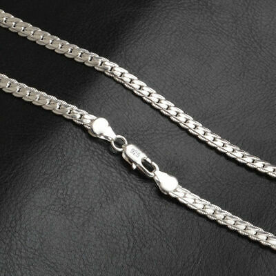 """Fashion 925 Silver Plated Pendants Men Women Chain Jewelry 5mm Necklace 20"""" inch"""