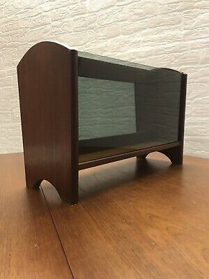 Vintage Retro Mid Century Teak Magazine Rack with smoked glass sides