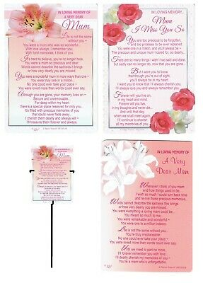 MUM or MAM GRAVE CARD ~WITH REUSABLE METAL HOLDER ~ Mother's Day Or any Occasion