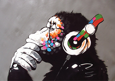 Banksy 'DJ Monkey with Headphones' A4 Size Poster Print A4 Chimp Gorilla NEW