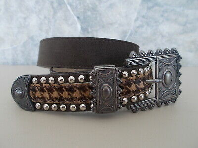 Vintage Brown Suede Western Cache Belt Ornate Buckle Faux Fur Studs XS NICE!