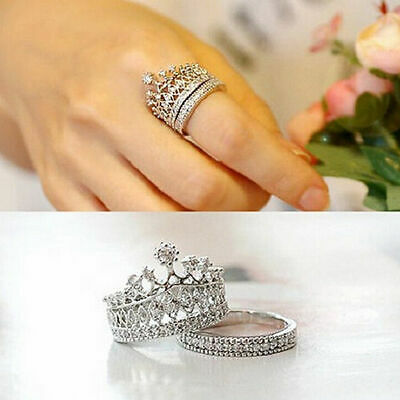 Women's Two-piece Fashion Set Queen Rings Ring Rhinestones Pattern Crown Natural