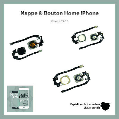 Nappe + Bouton Home Iphone 5S / 5Se   Blanc/Argent/Or/Dore/Noir/Or Rose
