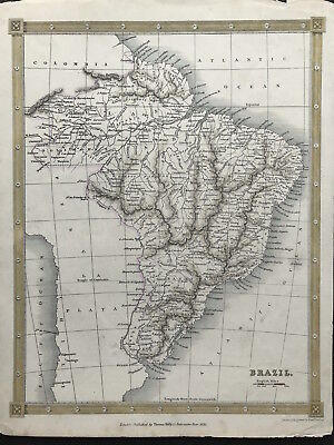 Antique Map BRAZIL c1834 Thomas Kelly original engraved outline color