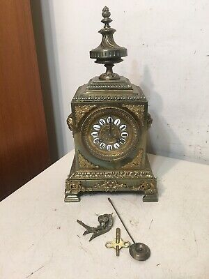 Fantastic Antique Japy Freres Brass Mantle Clock Urn Finial Ornate Case