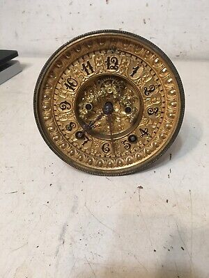 Antique Ansonia Round Plate Open Escapement Clock Movement Floral Relief Dial