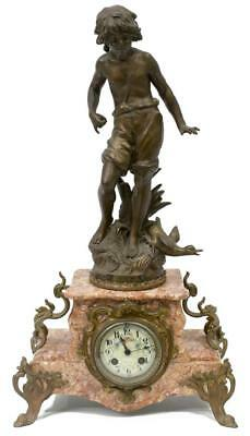 LOVELY MOREAU FIGURAL FRENCH MARBLE MANTEL CLOCK, 19th Century ( 1800s )